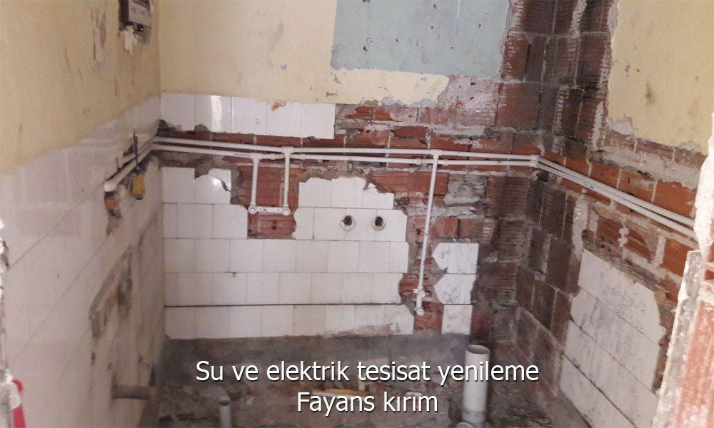 kırım ve hafriyat işlerinin yapılmasından sonra tüm elektrik ve su tesisatlarının yenilenmesi.
